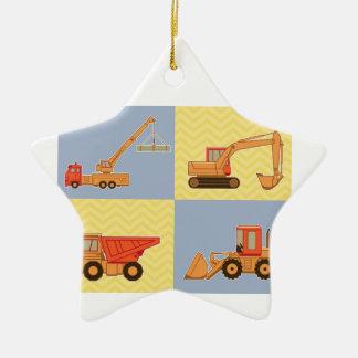 Transportation Heavy Equipments -Plain and Chevron Ceramic Star Decoration