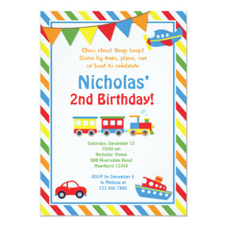 Transportation Invitation / Train Birthday Invite