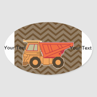 Transportation orange dump truck - brown oval sticker