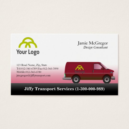 Transportation Red Van Business Cards