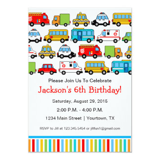 Transportation Theme Birthday Party Invitation