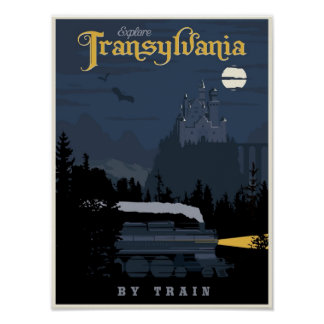 Transylvania by Train travel poster