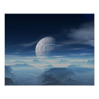 Tranus Alien Planet with Satellite digital art Poster