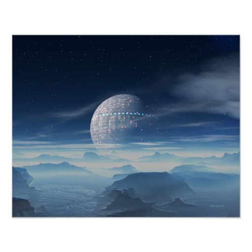 Tranus Alien Planet with Satellite digital art Print