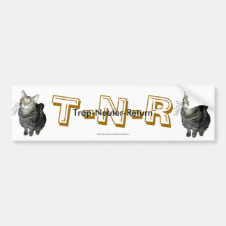 """Trap, Neuter, Return"" tabby cat bumper sticker"