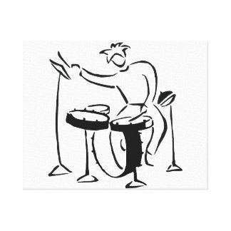 Trap set drummer abstract bw sketch design canvas print