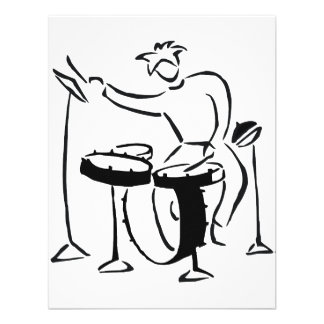 Trap set drummer abstract bw sketch design personalized announcements