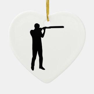 Trap shooting ceramic heart decoration