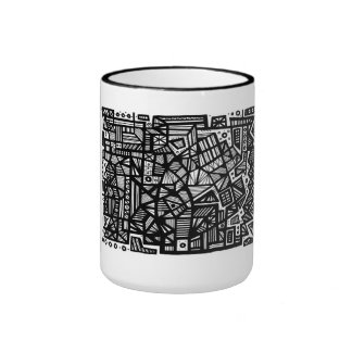 Trapanese Abstract Expression Black and White Ringer Mug