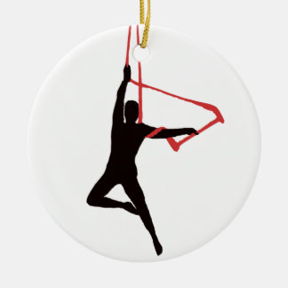Trapeze Swing Aerialists Round Ceramic Decoration