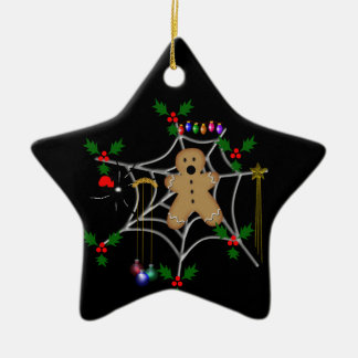 Trapped Gingerbread Ceramic Star Decoration