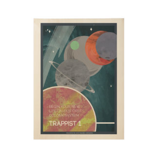 Trappist 1 Art Deco Space Travel Poster
