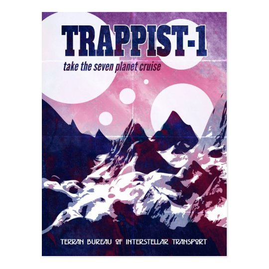 Trappist-1 Retro Space Cruise Postcard
