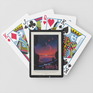 TRAPPIST-1 System Planet 1e retro space tourism ad Bicycle Playing Cards