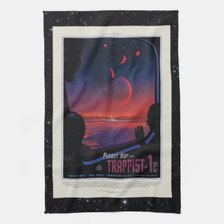 TRAPPIST-1 System Planet 1e retro space tourism ad Tea Towel