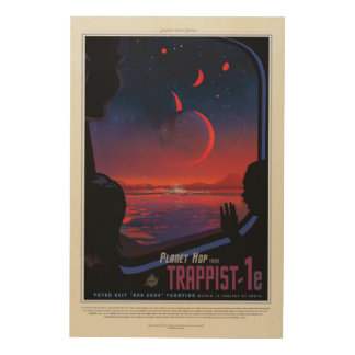 TRAPPIST-1 System Planet 1e retro space tourism ad Wood Print