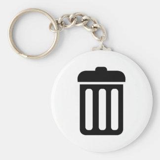 Trash bin symbol basic round button key ring