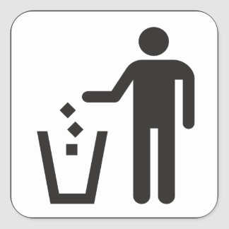 Trash box square sticker