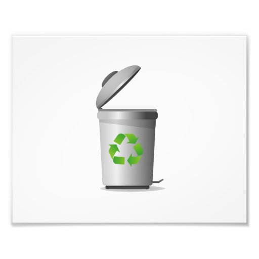 trash can lid open recycle symbol.png photographic print