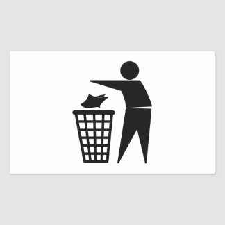 Trash Man Dumping Paper Trash Rectangular Sticker