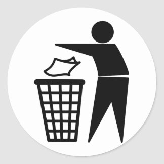 Trash Man Dumping Paper Trash Round Sticker
