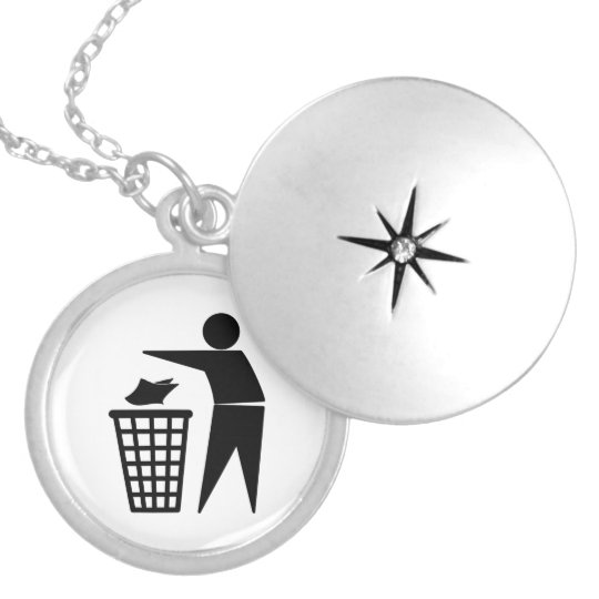 Trash Man Dumping Paper Trash Silver Plated Necklace