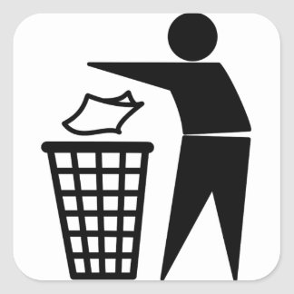 Trash Man Dumping Paper Trash Square Stickers