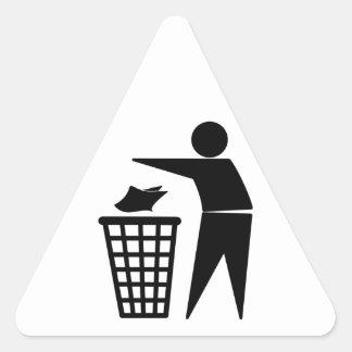 Trash Man Dumping Paper Trash Triangle Sticker