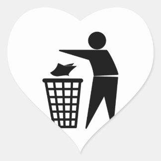 Trash Man Dumping Paper Trash Heart Sticker