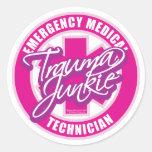 Trauma Junkie Pink Round Sticker