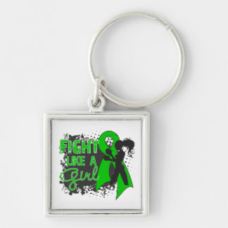 Traumatic Brain Injury Fight Like A Girl Grunge Silver-Colored Square Key Ring