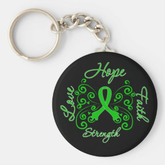 Traumatic Brain Injury Hope Motto Butterfly Basic Round Button Key Ring