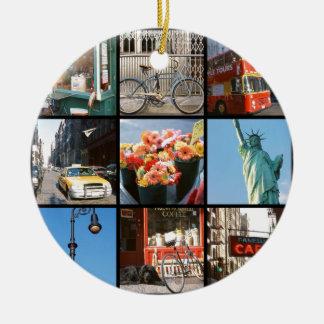Travel abroad to NewYork Round Ceramic Decoration