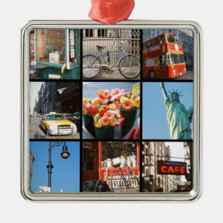 Travel abroad to NewYork Silver-Colored Square Decoration