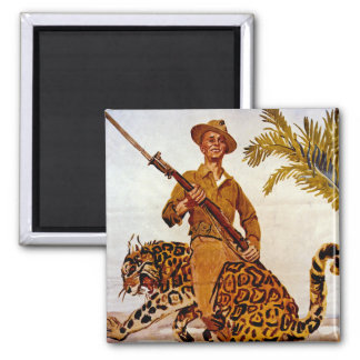 Travel? Adventure? Join the Marines! Square Magnet