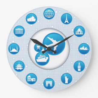 Travel Agency Blue Bubble Design Wall Clock