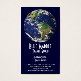 Travel Agent & Agency_blue marble_global Business Card