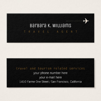 travel agent black profilecard with airplane mini business card