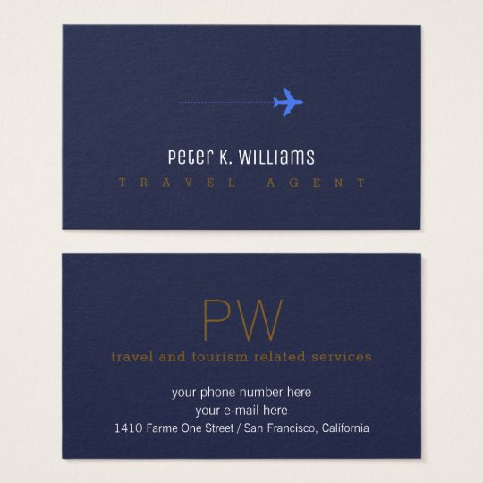 travel agent blue business card with an aeroplane