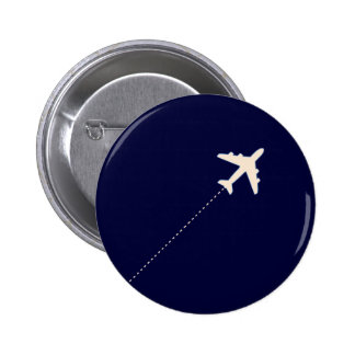 travel airplane with dotted line 6 cm round badge