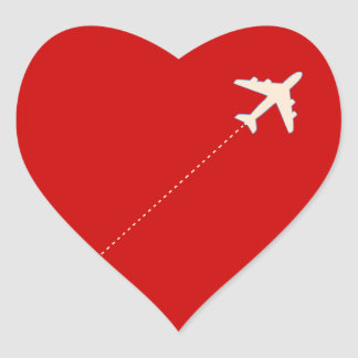 travel airplane with dotted line heart sticker