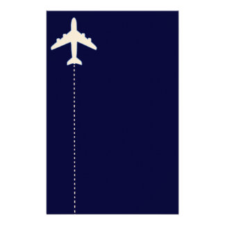 travel airplane with dotted line stationery