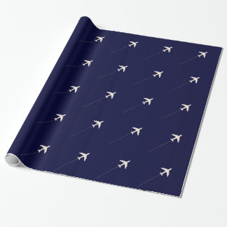 travel airplane  with dotted line gift wrap paper