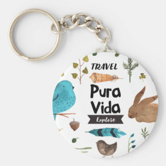 Travel and explore watercolour key ring