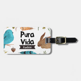 Travel and explore watercolour luggage tag