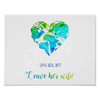 Travel Art - Watercolor Heart Shaped World Map Poster