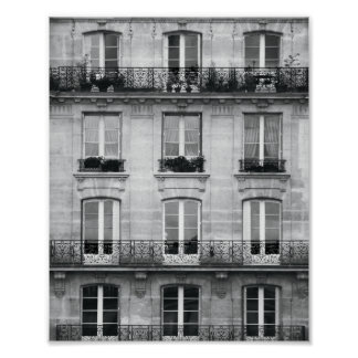 Travel | Black and White Vintage Building In Paris Poster