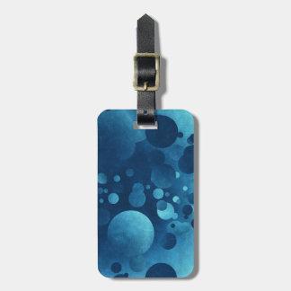 Travel Blue Grunge Geometric Circles Bag Tag