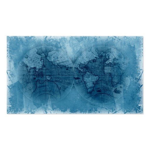 Travel Business Card Antique World Map Globe blue