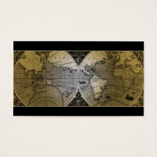 Travel Business Card World Map Globe gold